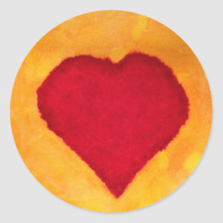 Sticker Rond amour rouge de valentine d'arrière - plan de jaune