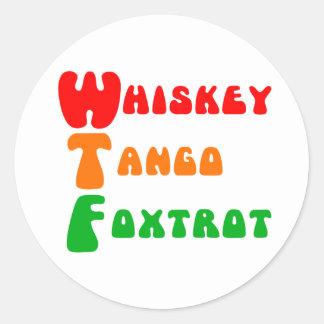 Sticker Rond Amusement d'acronymes de fox-trot de tango de