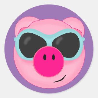 Sticker Rond Amusement de porc d'été