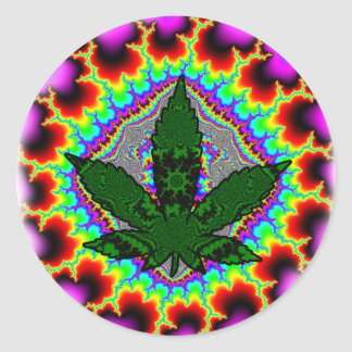 Sticker Rond Amusement fol Rasta de mauvaise herbe de fumée