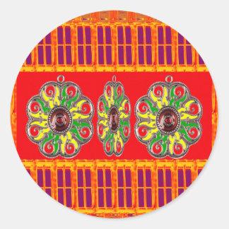 Sticker Rond Amusement pourpre de modèle du bijou