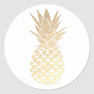 Sticker Rond ananas d'or