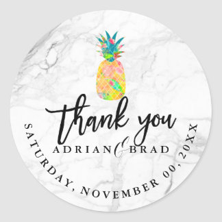 Sticker Rond Ananas/marbre de PixDezines Aloha