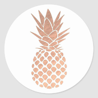 Sticker Rond ananas rose d'or