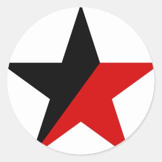 Sticker Rond Anarchisme noir et rouge d'Anarcho-Syndicalisme