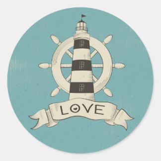 Sticker Rond Ancre nautique vintage Teal de phare et de bateau