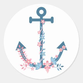 Sticker Rond Ancre rose et bleue nautique florale de bateau