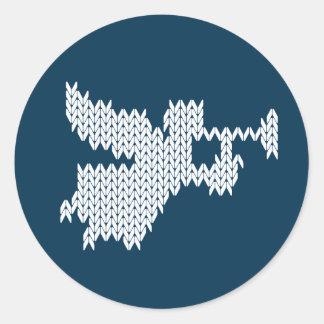 Sticker Rond Ange de Knit avec le bleu religieux chrétien de