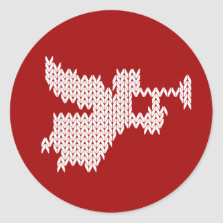 Sticker Rond Ange de Knit avec le rouge religieux chrétien de