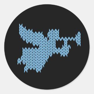 Sticker Rond Ange tricoté avec la trompette UCS religieux
