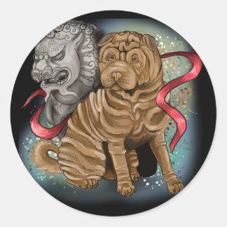 Sticker Rond Année chinoise de zodiaque du chien