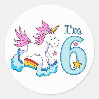 Sticker Rond Anniversaire d'arc-en-ciel de licorne 6ème