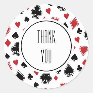 Sticker Rond Anniversaire de casino de jeu de carte de