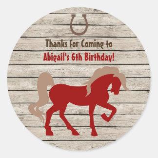 Sticker Rond Anniversaire en bois cheval et de filles ou de