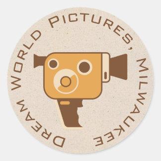 Sticker Rond Appareil-photo de film de cinéaste personnalisé