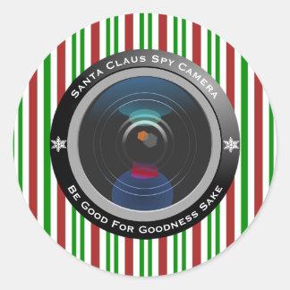 Sticker Rond Appareil-photo d'espion du père noël