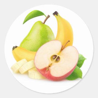 Sticker Rond Apple, banane et poire