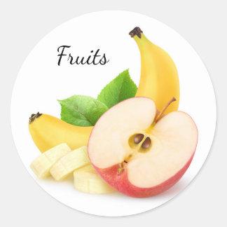Sticker Rond Apple et banane