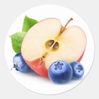 Sticker Rond Apple et myrtilles