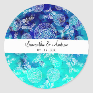 Sticker Rond Aquarelle de turquoise de plumes de dreamcatchers