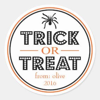 Sticker Rond Araignée de des bonbons ou un sort (noir/orange)