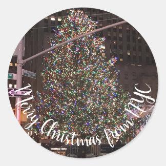 Sticker Rond Arbre de Noël central de New York City Rockefeller