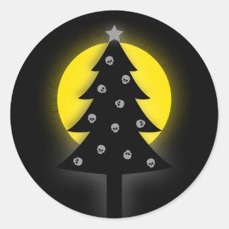 Sticker Rond Arbre de Noël éffrayant