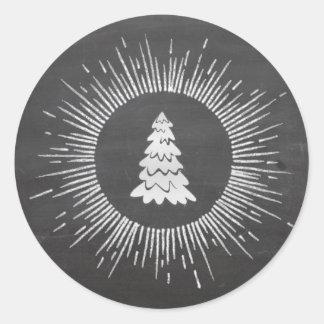 Sticker Rond Arbre de Noël moderne à la mode de tableau d'hiver