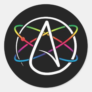 Sticker Rond Arc-en-ciel athée d'atome