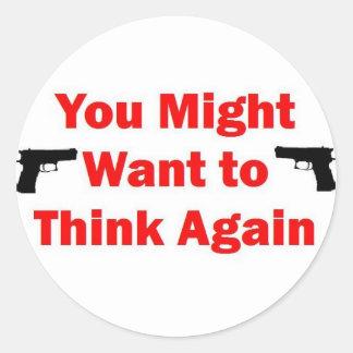 Sticker Rond Arme à feu de sécurité à la maison