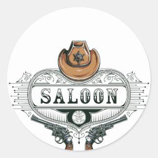 Sticker Rond armes à feu vintages de cowboy de salle