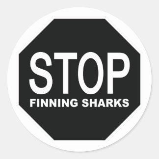 Sticker Rond Arrêtez le signe de requins de Finning