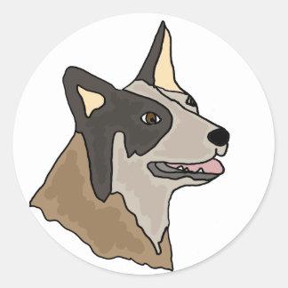 Sticker Rond Art australien de chien de bétail