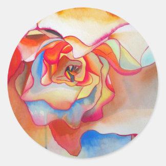 Sticker Rond Art de couleur pour aquarelle de bégonia de Fred