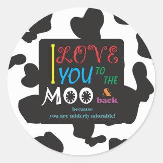 Sticker Rond Art de MOO de vache