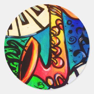 Sticker Rond Art de musique de saxo