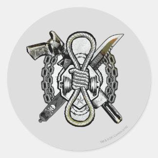 Sticker Rond Art de tatouage d'armes de noeud coulant du