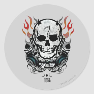 Sticker Rond Art de tatouage de crâne et de flammes du peloton