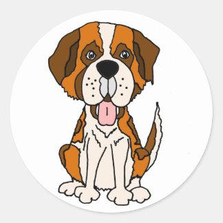Sticker Rond Art drôle de chiot de St Bernard