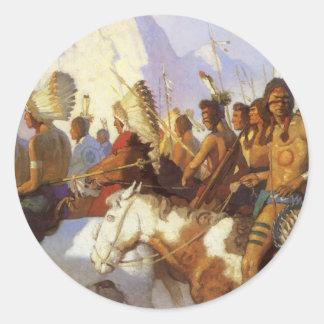 Sticker Rond Art occidental vintage, partie indienne de guerre