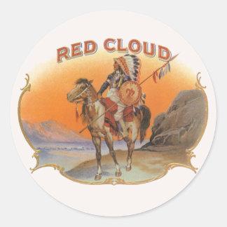 Sticker Rond Art vintage d'étiquette de cigare, Indien rouge de