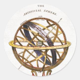 Sticker Rond Astronomie vintage, sphère artificielle, la terre,