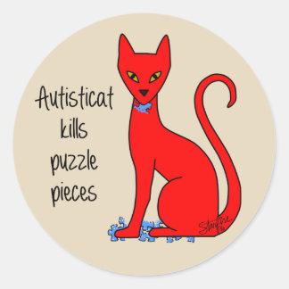 Sticker Rond Autisticat tue des morceaux de puzzle