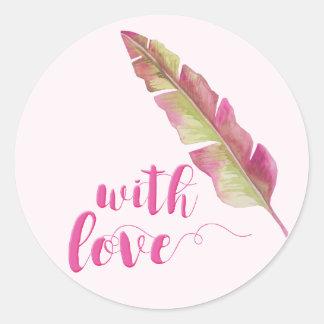 Sticker Rond Avec l'autocollant rond de mariage de plume de