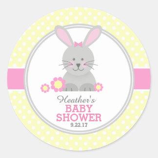 Sticker Rond Baby shower de lapin de Lil