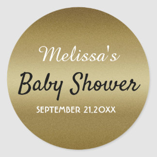 Sticker Rond Baby shower de parties scintillantes d'or