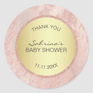 Sticker Rond Baby shower de scintillement de feuille d'or de