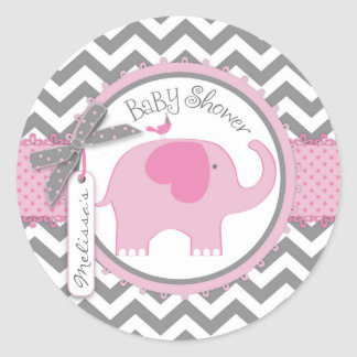 Sticker Rond Baby shower d'impression d'éléphant rose et de