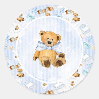 Sticker Rond Baby shower d'ours de nounours de Brown