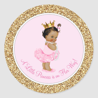 Sticker Rond Baby shower ethnique de princesse Pink Gold de